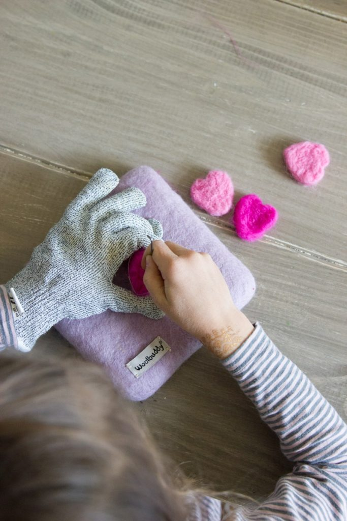 needle felted hearts with cookie cutters and an instructional story for kids