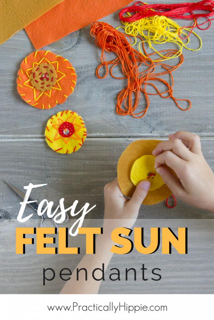 Easy felt sun pendant for summer solstice or to celebrate the summer season