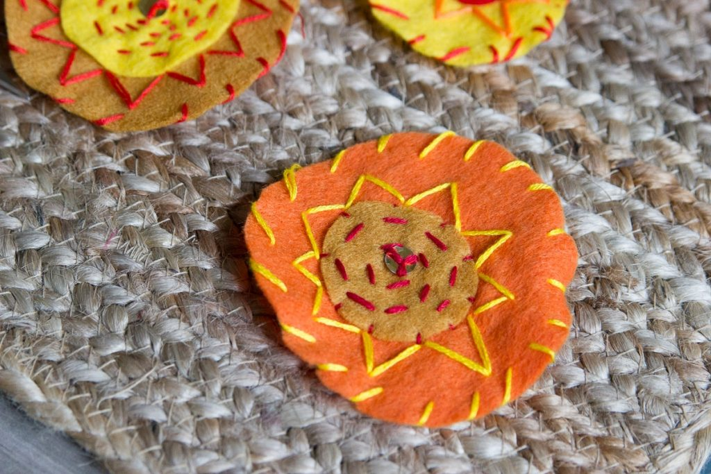 felt sun pendant for summer solstice