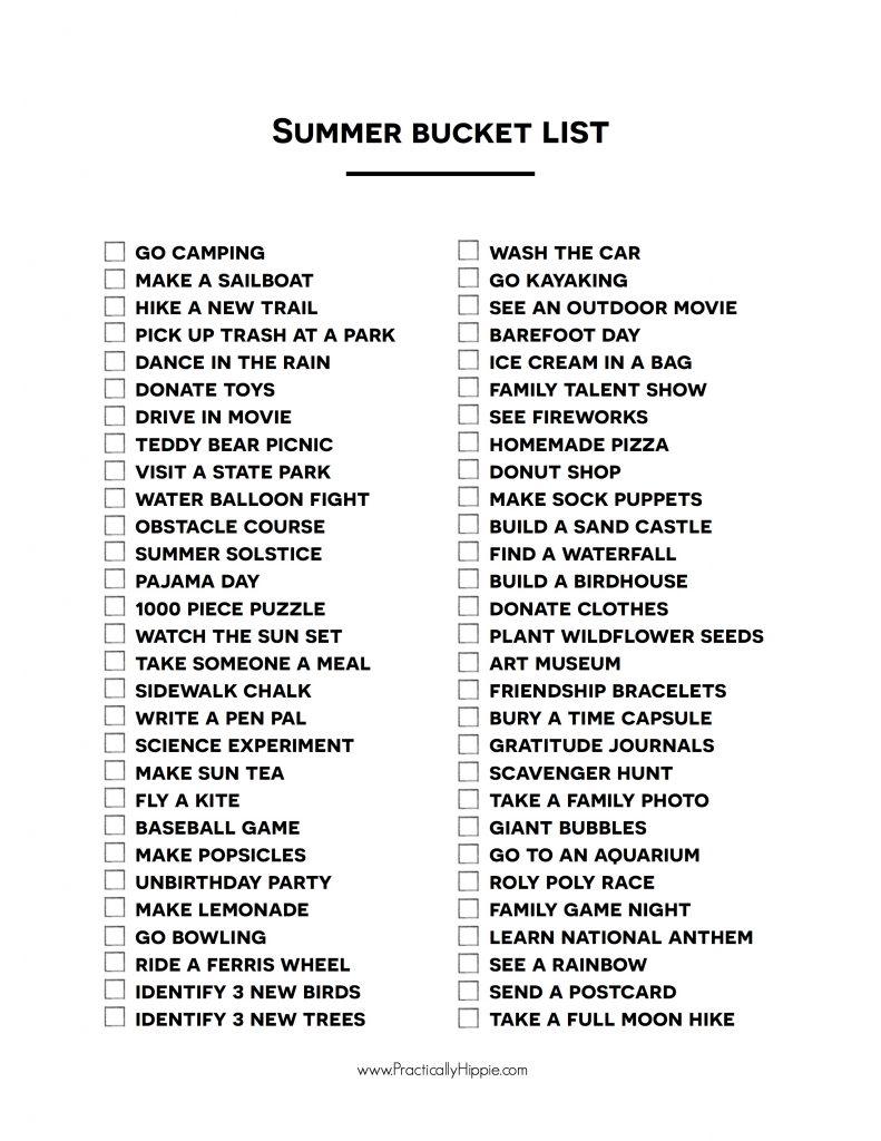 Summer Bucket List poster