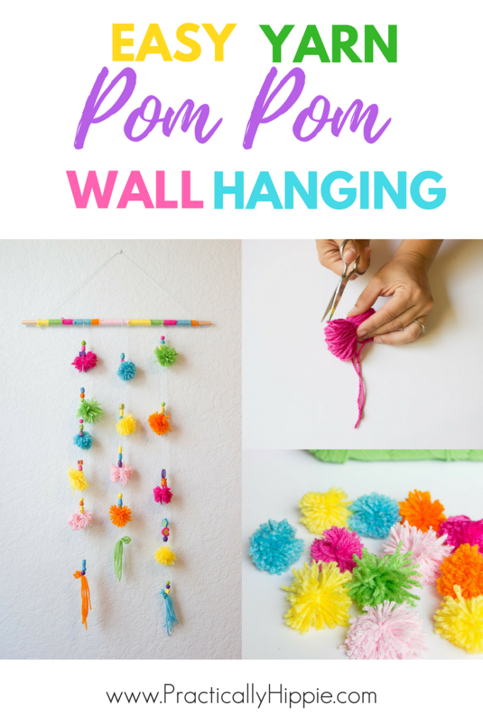 Easy yarn pom pom wall hanging, simple DIY project to add fun and whimsy to any room #DIYproject #handcraft #kidscrafts