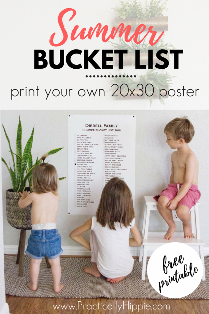 Create your own summer bucket list poster