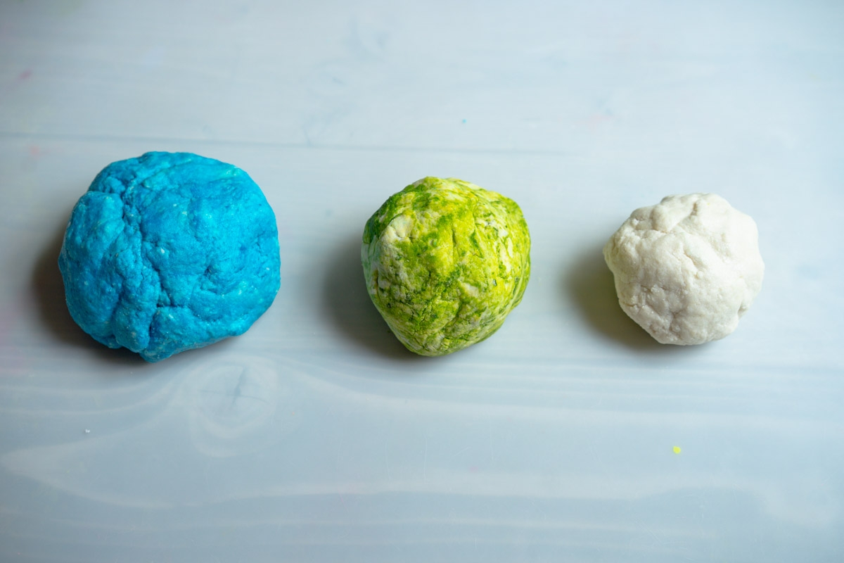 colored salt dough for salt dough world map