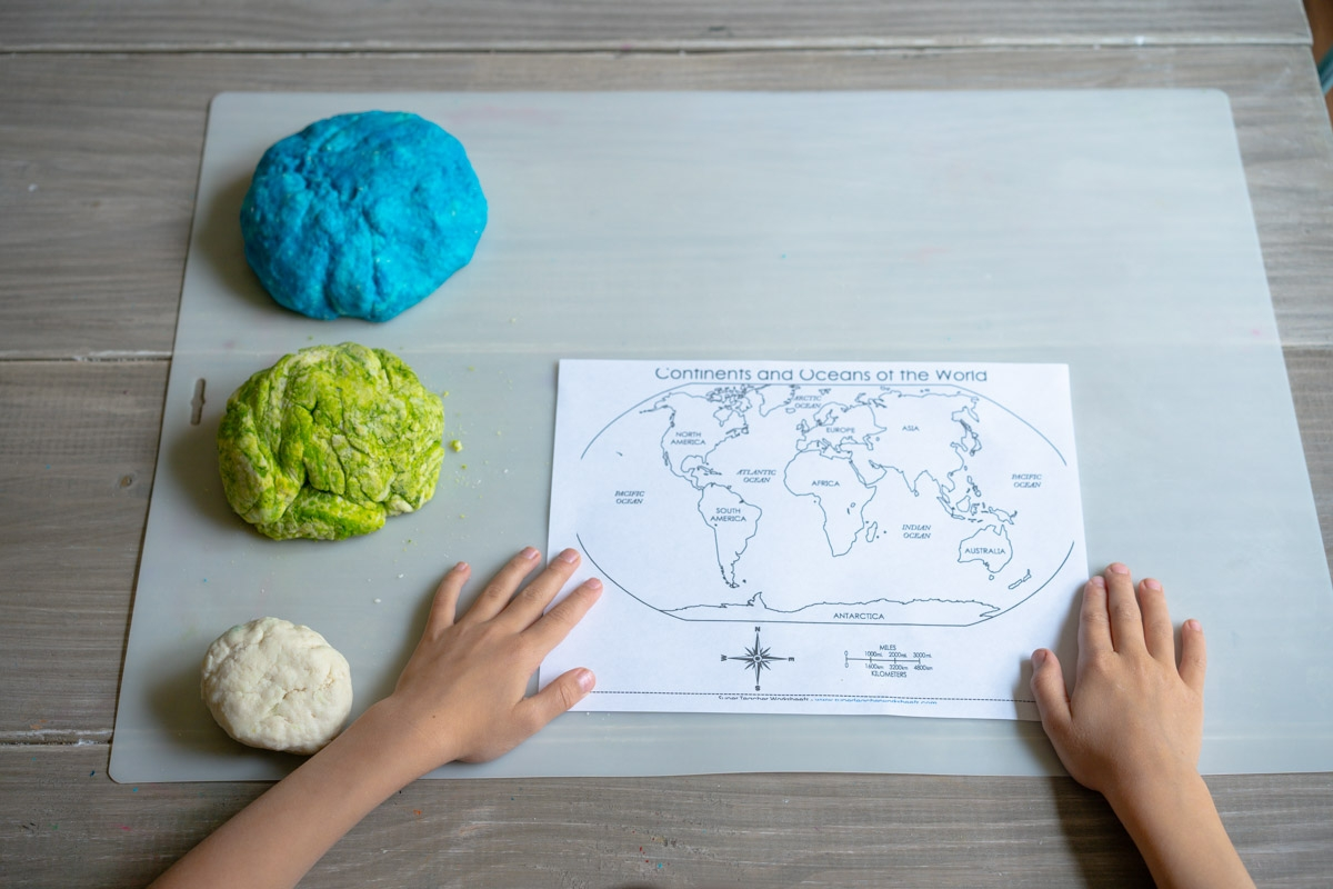 green salt dough for salt dough world map