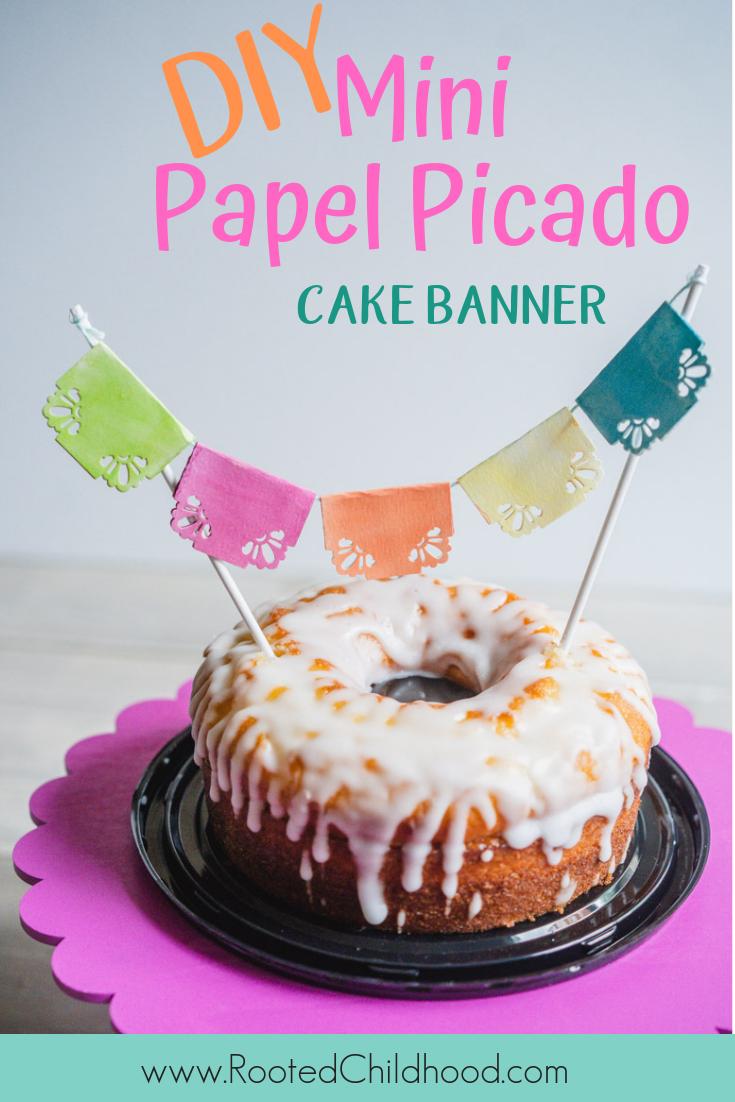 DIY Mini papel picador cake banner