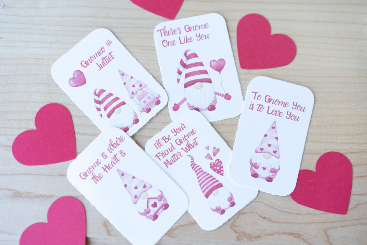 Valentine S Gnomes Free Printable Cards Rooted Childhood