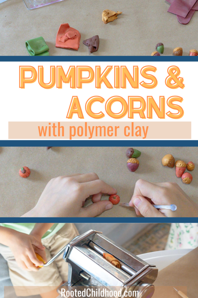 polymer clay acorns and pumpkins