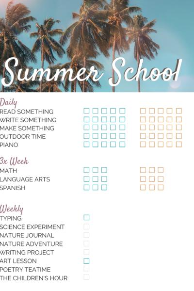 Summer School Checklist